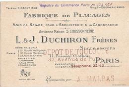 PARIS 12eme - FABRIQUE DE PLACAGES - L & J DUCHIRON FRERES - 14 PASSAGE GATBOIS - Tarjetas De Visita