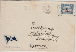 Trinidad Tobago 6 P. Asphaltsee Brief Port Of Spain Halberstadt 1937 HAPAG - Trinidad Y Tobago (1962-...)