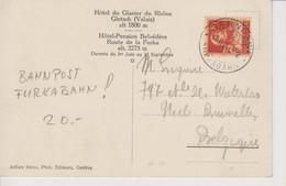 Schweiz,  Postkarte, 13.6.1921, Bahnpost Furkabahn, Nach Belgien, Gletschergrotte, Siehe Scans! - Cartas