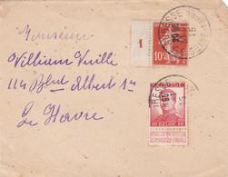 FRANCE - BELGIQUE. ENVELOPPE AVEC DEUX TIMBRES. CIRCULEE ANNEE 1915, STE ADRESSE A LA HAVRE. PARTIE AVANT.- LILHU - Lettres & Documents