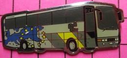 SP02 Pin's Pins / Beau Et Rare / THEME : TRANSPORTS / AUTOBUS ROUTIER GRIS - Transportation