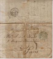 Prefilatelia Año 1856 Carta A Marcas Verde San Sebastian , Pirenees A Paris Curiosa Carta Sucesos De Madrid - ...-1850 Préphilatélie