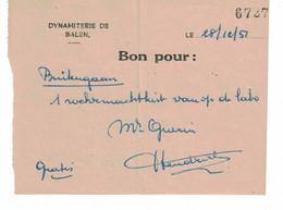 Balen. Dynamiterie. Bon Pour: ... 1952 - Zonder Classificatie
