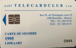 BELGIQUE - Prepaid  -  Telecardclub De BELGIQUE  -  Année 1995 - GSM-Kaarten, Herlaadbaar & Voorafbetaald