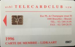 BELGIQUE - Prepaid  -  Telecardclub De BELGIQUE  -  Année 1996 - GSM-Kaarten, Herlaadbaar & Voorafbetaald