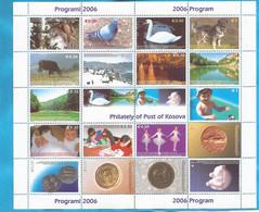 KOSOVO  UNMIK   2006 PROGRAMM  KOSOVO UNMIK LUX  FAUNA TIERE WOLF-HAUSRIND-COLOMBA-TAUBE- SCHWAN-HUND  MNH - Kosovo