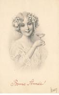 ILLUSTRATEUR #23081 TYPE VIENNE BONNE ANNEE JOLIE FEMME BUVANT UNE COUPE - Vienne