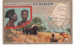 Tchad : Carte Géographique Avec Illustration Dont Chasseur De Buffle Ed Lion Noir En 1945 (animé) PF. - Chad