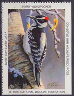 HAIRY WOODPECKER / BIRD - National Wildlife Federation NWF - 1993 USA - LABEL / CINDERELLA / VIGNETTE - Sperlingsvögel & Singvögel