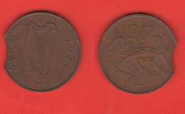 Irlanda 2 Penny 1971 Ireland Vedi DIFETTO Mauvaise Pièce Mal Frappée Bad Coin Badly Minted Defekt Schlecht Geprägt - Ireland