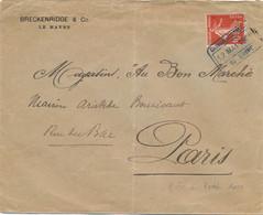 SEMEUSE 138 Obl CHAMBRE COMMERCE DU HAVRE 12 MAI 1909 - GREVE DES POSTIERS LETTRE > PARIS - Strikes