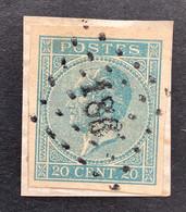 Leopold I In Profiel 18 ONGETAND - 20c Gestempeld LP186 HUY - 1865-1866 Profilo Sinistro