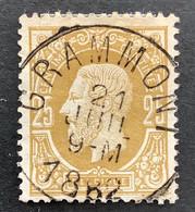 Leopold II 32 - 25c Gestempeld EC GRAMMONT 21 JUIL 1882 - 1869-1883 Leopoldo II