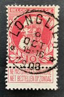 Leopold II Grove Baard 74 - 10c Gestempeld EC RELAIS LONGLIER 9 OCT 1908 - 1905 Thick Beard