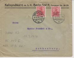 Deutschland, Brief, 17.9.1920, Berlin Nach Gothenburg, (Schweden) 2 X Mi  145 I, Perfin KS, Poko, Siehe Scans! - Cartas