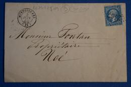 P17 FRANCE BELLE LETTRE 1864 MONGISCARD POUR NOE + GC+ AFFRANCH INTERESSANT - 1862 Napoléon III