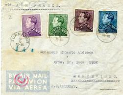1940 Zensur Censuur Enveloppe TURNHOUT Naar Montevideo Uruguay - Via Air France - Gefr. 430/431/433/434 - Cartas