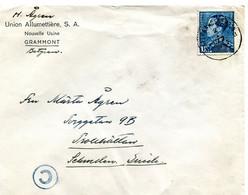 1941 Zensur Censuur Enveloppe UNION ALLUMETTIERE Grammont Naar Sweden Suède - Blauwe C In Cirkel - - Cartas