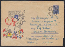 3888 RUSSIA 1965 ENTIER COVER Used NEW YEAR NOUVEL AN NOUVELLE SNOWMAN CHILD CHILDREN ENFANT KIDS CLOCK USSR Mailed 358 - 1960-69