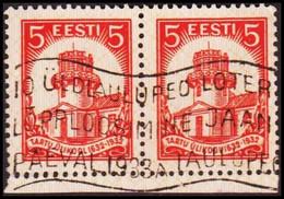 1932 UNIVERSITY OF TARTU 5 S. Red Pair With Interesting Machine Cancel.  (Michel 94) - JF417583 - Estonia