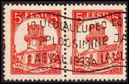 1932 UNIVERSITY OF TARTU 5 S. Red Pair With Interesting Machine Cancel.  (Michel 94) - JF417584 - Estonia