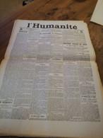 LA UNE DE L HUMANITE N° 963 1906 LA CATASTROPHE DE COURRIERES 1500 MINEURS ENSEVELIS - Sonstige