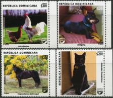 DOMINICAN REPUBLIC 2018 Domestic Animals Dog Dogs Cat Cats Roosters Birds Horse Horses Fauna MNH - Gatos Domésticos