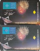 2 X Türkey Phonecard  Raumfahrt Satelit Feuerwerk - Spazio