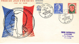 ALGERIE #23660 ALGER 1958 PREMIER JOUR TIMBRE METROPOLE MARIANNE DRAPEAU FRANCAIS - FDC