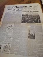 LA UNE DE L HUMANITE N° 3375 1913 NOUVELLE AFFIRMATION DU PEUPLE DE PARIS JAURES PARLE - Sonstige