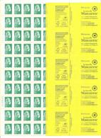 Variété Bande De 5 Carnet Sagem Marianne L'engagée Avec Erreur De Couverture  Lettre Prioritaire Au Lieu De Lettre Verte - Uso Corrente