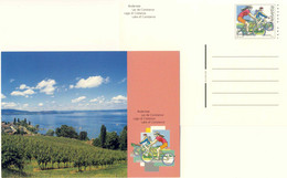 123  Cyclisme, Vigne, Lac De Constance: Entier (c.p.) Suisse - Cycling, Vineyard, Lake Stationery Postcard - Wielrennen