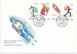FDC Mi 364-367 / Winter Olympics, Lillehammer / Biathlon, Bobsleigh, Luge, Figure Skating - 20 April 1994 - Letonia