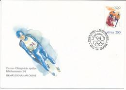 FDC Mi 368 / Winter Olympics, Lillehammer / Bobsleigh - 20 April 1994 - Letonia