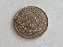 Suisse Switzerland 1/2 Franc Argent Silver 1943 Rappen - Switzerland