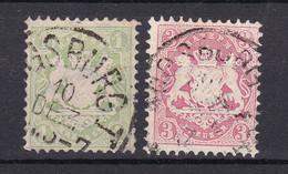 Bayern - 1870 - Michel Nr. 22/23 Y K1 Einkreis - Gestempelt - 25 Euro - Bayern