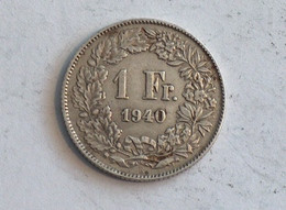 Suisse Switzerland 1 Franc Argent Silver 1940 Rappen - Switzerland