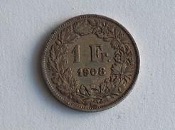 SUISSE 1 FRANC 1908  ARGENT SILVER - Switzerland