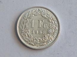 Suisse Switzerland 1 Franc Argent Silver 1958 Rappen - Switzerland