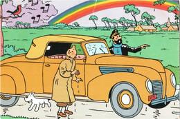 CPM BD - TINTIN, Les 7 Boules De Cristal Page 54 Tintin, Milou, Le Capitaine Haddock Et Cabriolet Lincoln Zéphir De 1938 - Comics