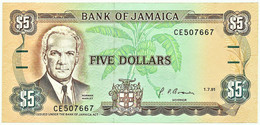 Jamaica - 5 Dollars - 01.07.1991 - Pick 70.d - Unc. - Sign. 10 - Prefix CE - Jamaica