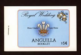 ANGUILLA - 1981 ROYAL WEDDING $14 STAPLED BOOKLET LOBSTER FISHERMEN BACK COVER FINE MNH ** SG SB5 - Anguilla (1968-...)