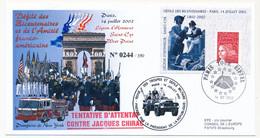 Envel Affr Luquet Sur Porte Timbre Légion D'Honneur 14/7/2002 - Attentat Contre M. Jacques CHIRAC - Obl Tour Eiffel - 1997-04 Marianna Del 14 Luglio