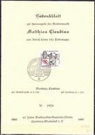 BRD FGR RFA - Gedenkblatt Matthias Claudius Des Briefmarken-Sammler-Vereins Hamburg-Wandsbek (MiNr: 462) 1965 - Storia Postale