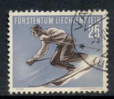 Liechtenstein 1955 Skiier 25rp FU - Gebraucht