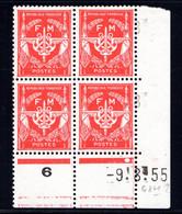 YT-N°: FM 12 - FRANCHISE MILITAIRE, Coin Daté Du 09.08.1955, Galvano H De G+H, 2e Tirage, NSC/**/MNH - 1950-1959