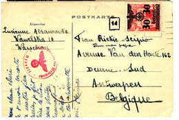 45649 - CP Pour La Belgique - Gobierno General