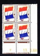 YT-N°: FM 13 - DRAPEAU, Coin Daté Du 13.03.1968, Galvano B De A+B, 4e Tirage, NSC/**/MNH - 1960-1969