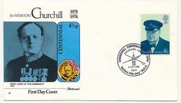 GRANDE BRETAGNE - 4 Enveloppes FDC Sir Winston Churchill 9 Oct. 1974 - 1971-1980 Dezimalausgaben