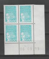 FRANCE / 1997 / Y&T N° 3097 ** : Luquet 5F Bleu-vert X 4 - Coin Daté 1999 09 06 ( ) - 1990-1999